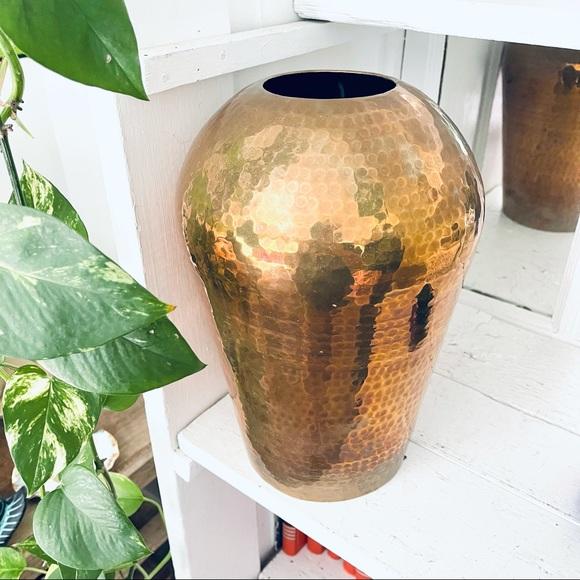 Vintage Hammered Brass Vase MCM Retro Boho Decor